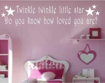 Twinkle Twinkle vinyl wall quote wall art home decor bedroom playroom you choose size and colour