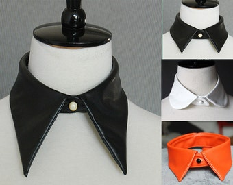 Women's PU Leather Cosplay Vintage Peter Pan Fake Detachable collar Necklace Choker Tie White Black Orange
