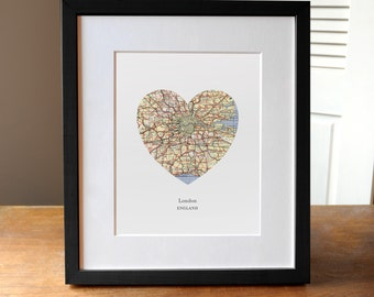 London Heart Print, London Map Print, Heart Map Print, Choose any hometown, Custom Valentines Gift, Valentines Day Print