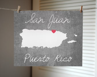 San Juan Puerto Rico Concrete Print, Puerto Rico Print, Puerto Rico Gift, Concrete Style Print