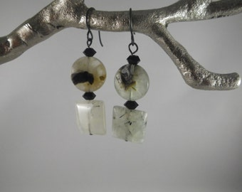 prenite gemstone, faceted black onyx and oxidized black findings