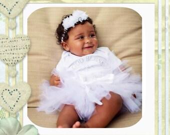 Baptism Tutu Set, Christening Tutu Set, White Tutu Set,  Infant Tutu Set, Baby Tutu Set