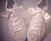 Pure White Pearl Converse / bridal converse / wedding converse/ bride converse / customised converse  / unique sneakers / stunning footwear