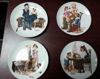 Set of 4 Norman Rockwell Collectible Porcelain Plates No Chips Cobbler Lighthouse Toymaker Good Boy Serving Housewares Home Decor Kitchen