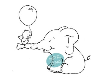 Elephant with Birdie - Digital Stamp - Instant download