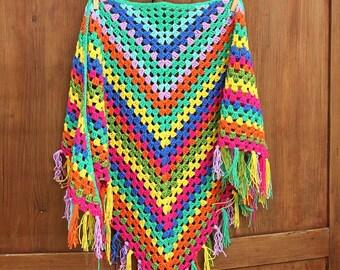 Crochet 'fireworks' cotton shawl