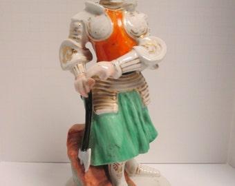 Vintage Hand Painted & Gilded Paris Porcelain Figural Decanter w/ Name on Base.