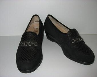 Vintage women's shoes black leather PHEASANT Gr. 39