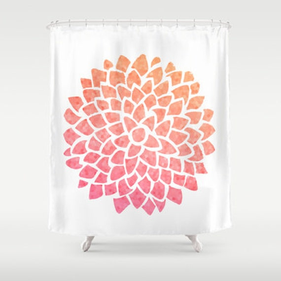 Coral Dahlia Shower Curtain Coral Sea Glass Dahlia Mosaic