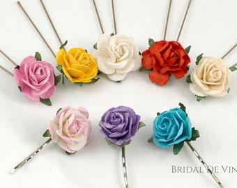 Pretty Mulberry Rose Flower Hair Pin - Grip Flower Girls Bridesmaids