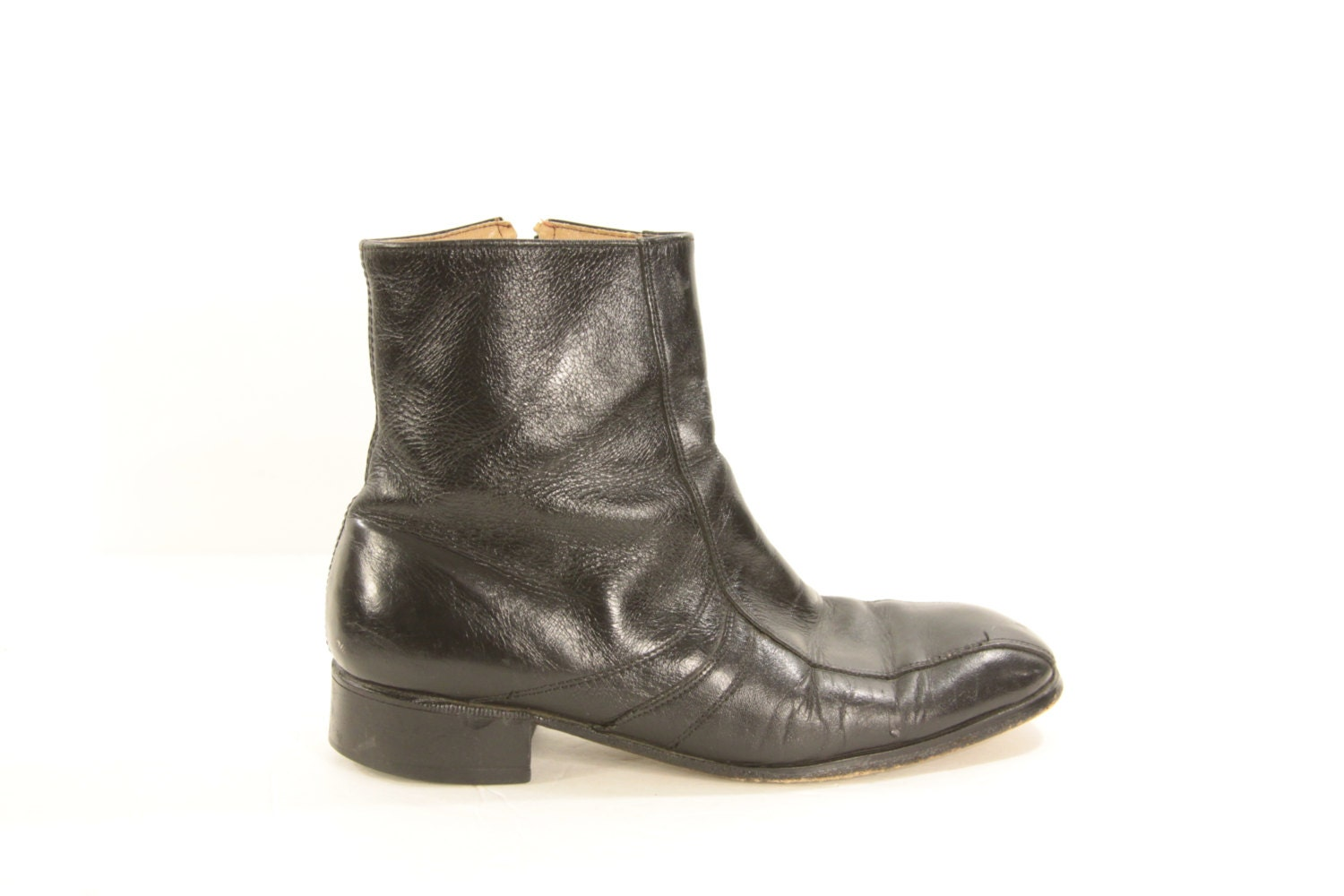 vintage mens black leather zip up ankle boots by fygapparel