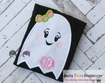 Girl Ghost with bow Applique Design