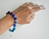 Felt Bead Bracelet, Purple Blue Jewelry