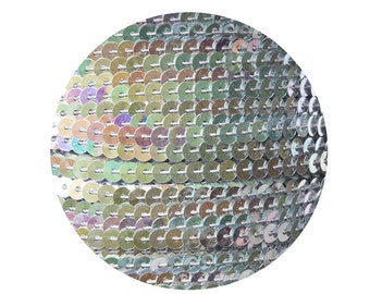 4mm flat Strung Sequin Trim Silver Iris Rainbow Iridescent Metallic -  Stitched for embroidery and embellishment. 5 yds. Made in USA