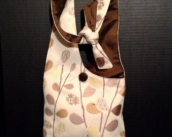 children's purse - fully lined brown and cream cotton hobo bag with velcro closure and adjustable shoulder strap.