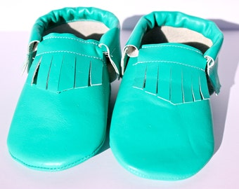 Baby and Toddler Moccasin- Mint/Dark Mint