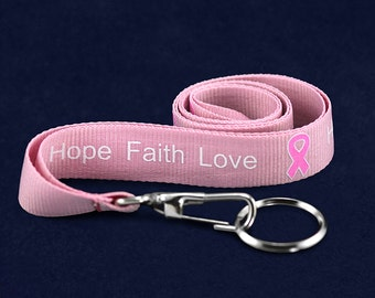 25 Pink Ribbon Awareness Lanyards (25 Lanyards)(LAN-1H)