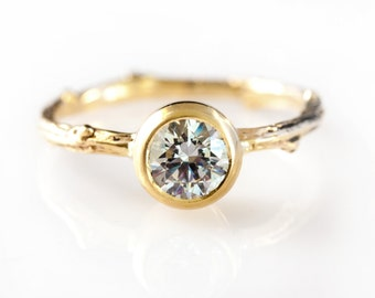 14KT Twig Bezel Engagement Ring with Moissanite