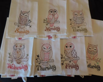 Days of the Week Owl Towels