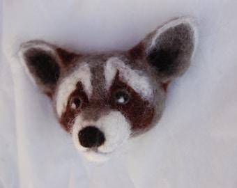 Raccoon Brooch - Needle Felted badge - handmade wool animal brooch
