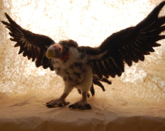 Needle felted vulture sculpture