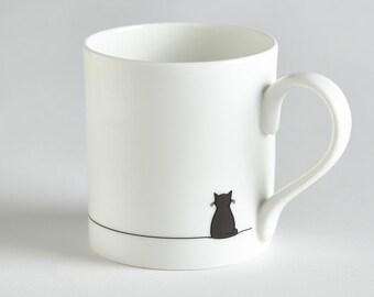 Sitting Cat Mug, Fine Bone China, Hand-decorated, Gift for Cat Lover, Black Cat Mug, includes Gift Box