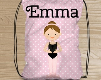 Personalized Dance Bag for Girls - Drawstring Backpack - Ballerina Backpack for Girls - Ballerina Dance Bag - Ballet Drawstring Backpack