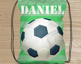 Personalized Drawstring Backpack for Kids - Soccer Backpack for Boys - Fabric Bag with Soccer Ball - Soccer Drawstring Backpack