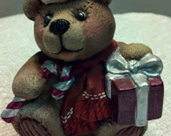 Christmas Ceramic Bear with a Candy Cane, Package, and Stocking Cap