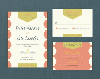 Vintage Pattern Wedding Invitation // DIY Printable // Vintage Wedding, Hexagon Invitation, Banner Invitation