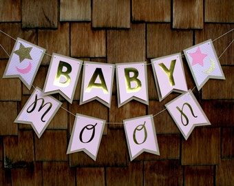 Moons & Stars Baby Name Banner, Shower/Nursery Decoration