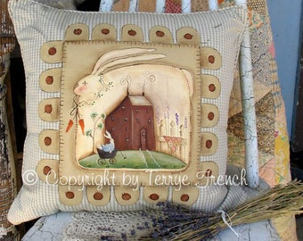 Bunny Penny Pillow by Terrye French, E-Pattern