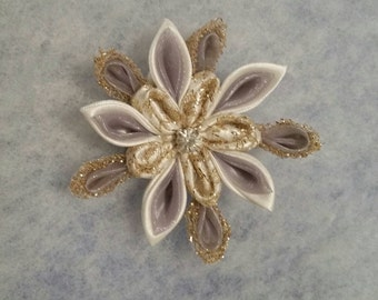 Silver and gold snowflake Hair clip