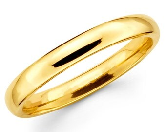10K Solid Yellow Gold 3mm Plain Wedding Band Ring