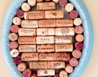 Wine Cork Board with Aqua Distressed Frame