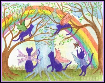 Fairy Angel Rainbow Kitties, Rainbow Bridge, Cats, card or print, Watercolor, Item #0131a