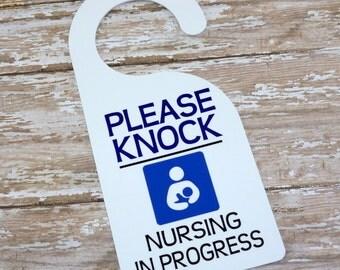 Pumping / Nursing door hanger - Breastfeeding sign - Nursing sign - Baby feeding sign - Pumping in progress sign - new mom door sign
