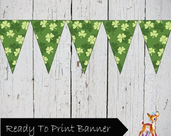St. Patrick's Day Clover Printable DIY Banner Flag Pennant Bunting Sign