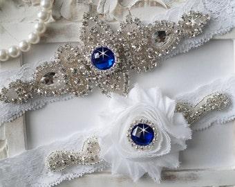 Wedding Garter Set, Bridal Garter Set, Vintage Wedding, Stretch Lace Garter,Something Blue -Style 200