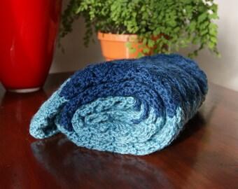 Baby Blanket Crochet Blue blanket Baby pram Blanket for boy