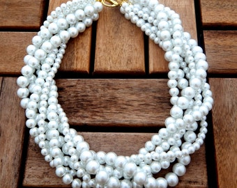 The Duchess // Classic White Multi-Strand Twisted Pearl Statement Necklace