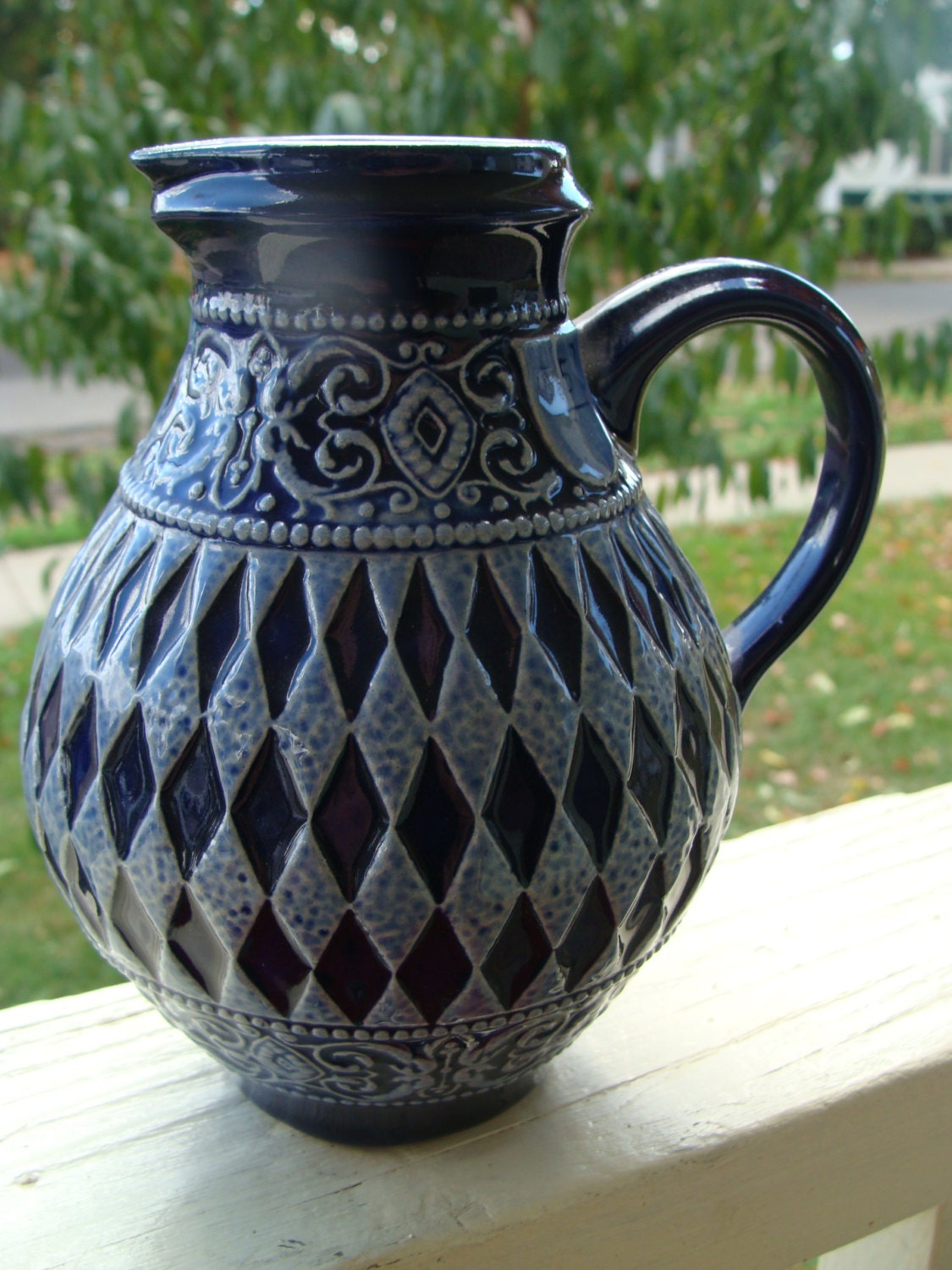 Marzi And Remy Cobalt Salt Glaze Stoneware Beer Stein Pitcher