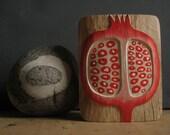 original POMEGRANATE WOOD RELIEF in oak naturely