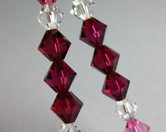 "Red Swarovksi crystal dangles...Red crystal dangles...Glitter Stix...""Rainbow Ice"""