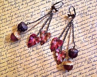 Fall Leaves And Acorn Earrings