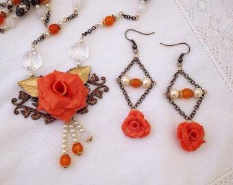 "Orange Polymer Rose Necklace and Earring Set "" Sunset Romance """