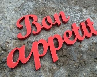 kitchen decor wooden letters  Bon Appetit  kitchen sign , wall art, home decor , bar decor ,restaurant decor ,businesses sign
