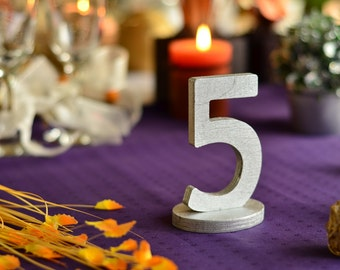 Silver Table Numbers- Wedding Table Numbers DIY- Cottage Chic Wooden Table Numbers DIY, Painted or Glittered numbers for table decoration