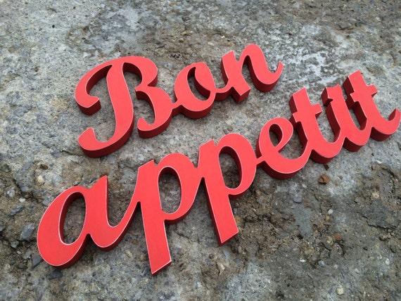 kitchen decor wooden letters bon appetit kitchen sign wall With bon appetit wooden letters