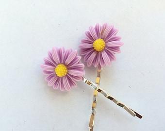 Lavender Daisy Bobby Pins - Purple Flower Hair Pin Set - Flower Hair Accessories - Fashion Hair Pins - Womens Bobby Pin Set -